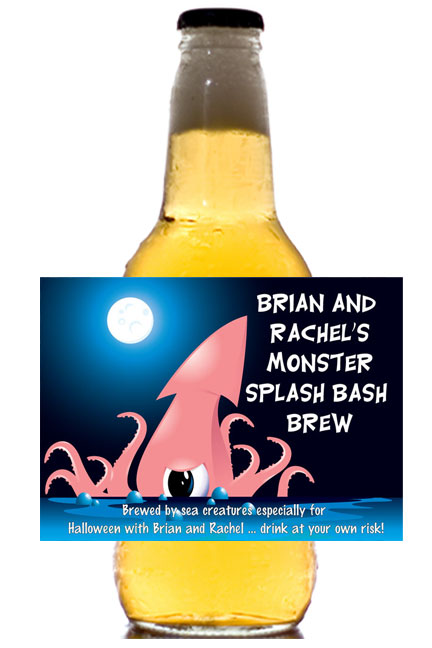 Halloween Sea Creature Theme Beer Label