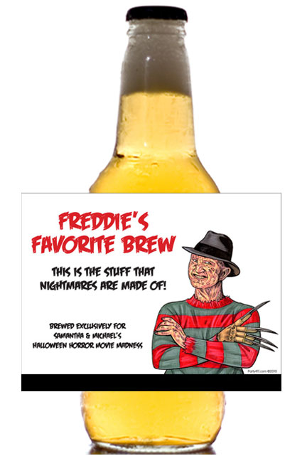 80s Halloween Horror Movie Theme Beer Label / This beer bottle label will be a smash hit at your horror party