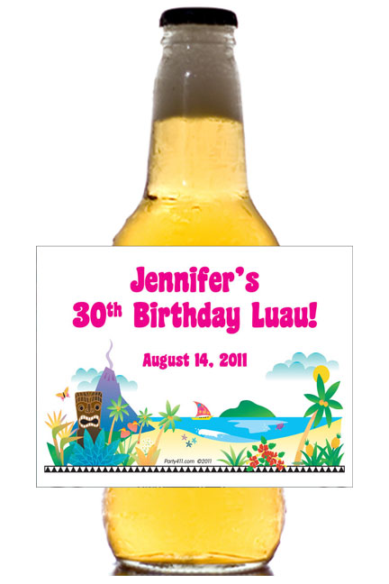 Luau Beach Theme Beer Bottle Label