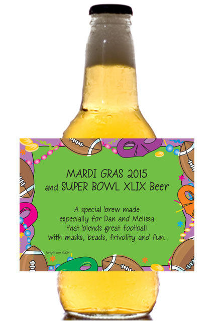 Mardi Gras Super Bowl Theme Beer Bottle Label / This beer bottle label is great for your Mardi Gras Celebration