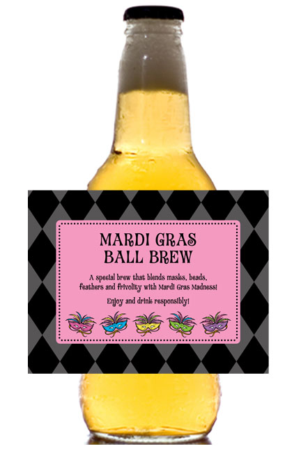 Mardi Gras Masks Theme Beer Bottle Label