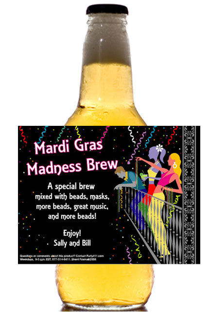 A Mardi Gras Balcony Theme Beer Bottle Label / A perfect Mardi Gras party favor