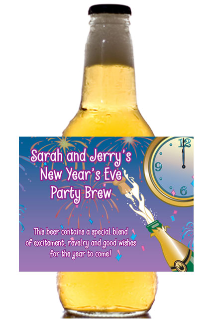 A New Years Eve Toast Theme Beer Bottle Label / This personalized beer bottle label will make for a great party favor.