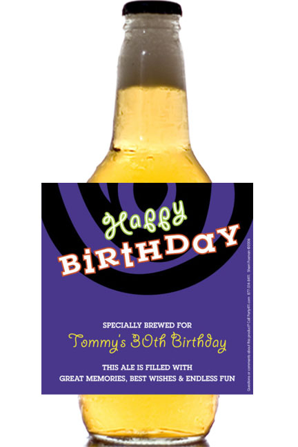 Birthday Swirl Theme Beer Bottle Label