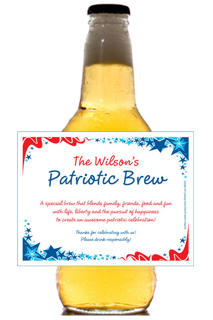 Patriotic Party Theme Beer Bottle Label