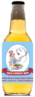 Patriotic beer bottle labels