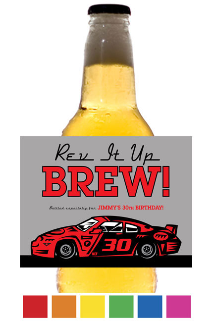 Race Car Theme Beer Bottle Label