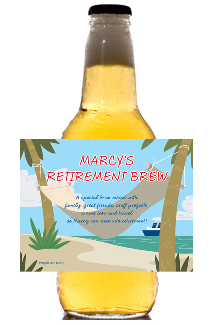A Retirement Theme Beer Bottle Label