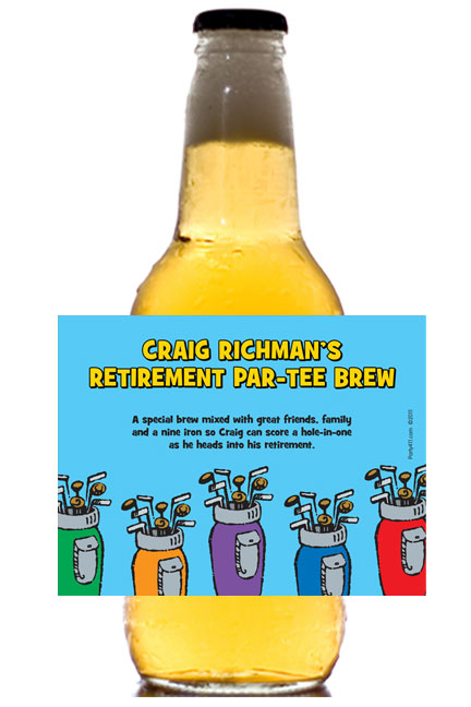 Golf Clubs Theme Beer Bottle Label