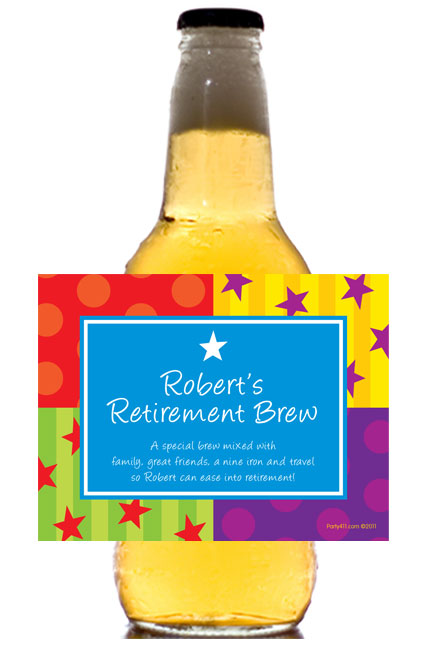 A Retirement Celebration Theme Beer Bottle Label
