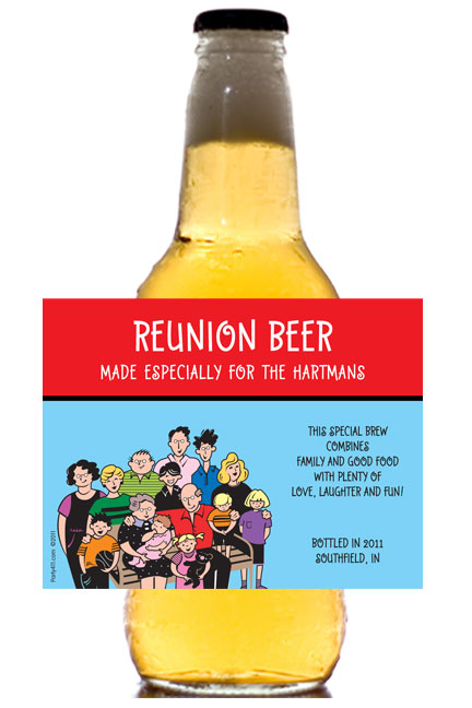 A Reunion Theme Beer Bottle Label