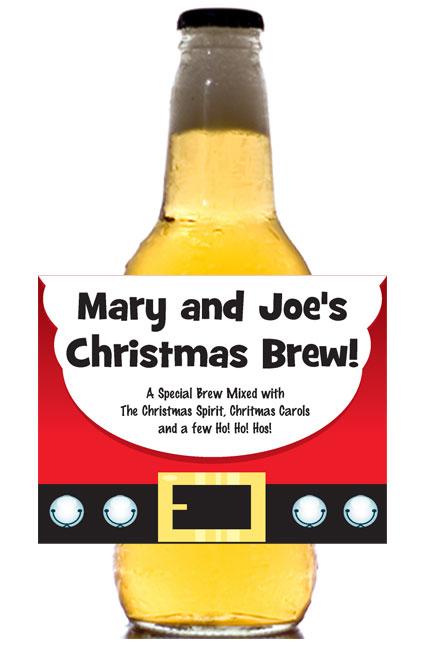 Christmas Santa Suit Theme Beer Bottle Label