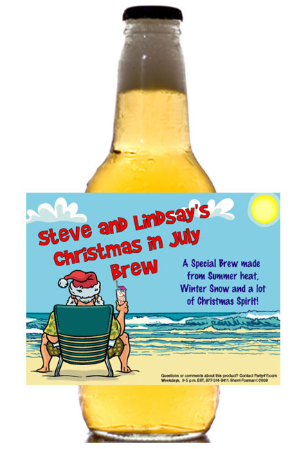 Christmas in July Theme Beer Bottle Label / A refreshing summer party favor