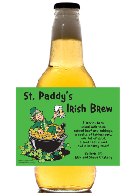 St. Patricks Day Leprechauns Theme Label - Beer Bottle / This personalized beer bottle label is the perfect addition to your St. Patty's Day party
