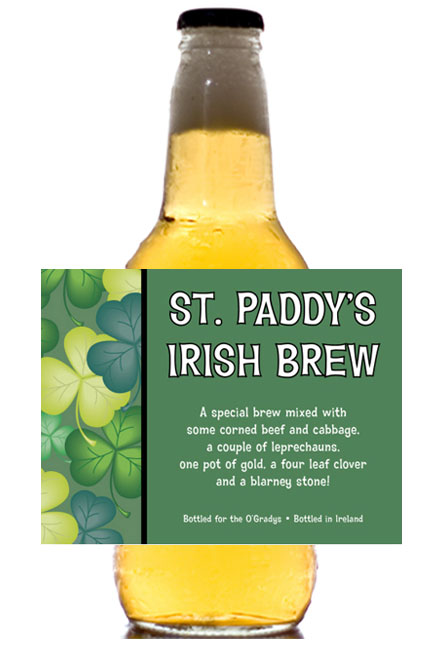 St. Patrick's Day Green Shamrocks Theme Bottle Label, Beer