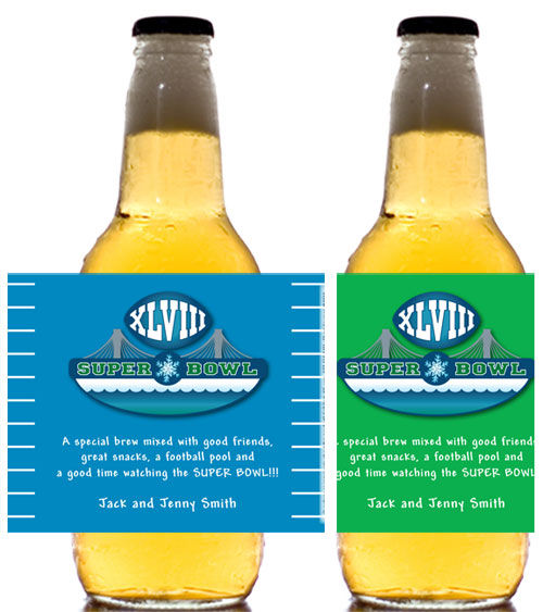 2014 Super Bowl XLVIII Theme Bottle Label, Beer / This beer bottle label is perfect for your Super Bowl XLVIII Party