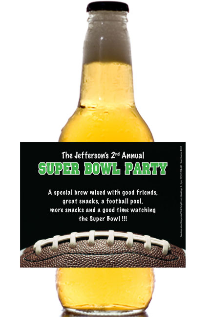 Football Party Theme Beer Bottle Label / Customize the drinks at your Super Bowl or Football theme party!
