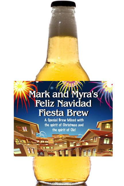 Fiesta Holiday Theme Beer Bottle Label / Add a custom label to your Corona