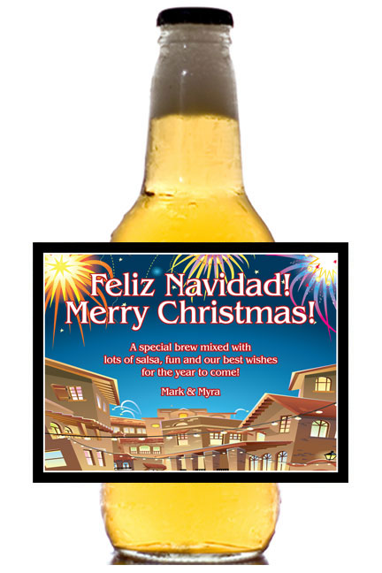New Years Fiesta Theme Beer Bottle Label / This personalized beer bottle label is great for your theme party
