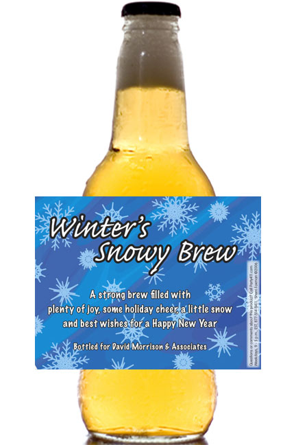 Winter Snow Theme Beer Bottle Label