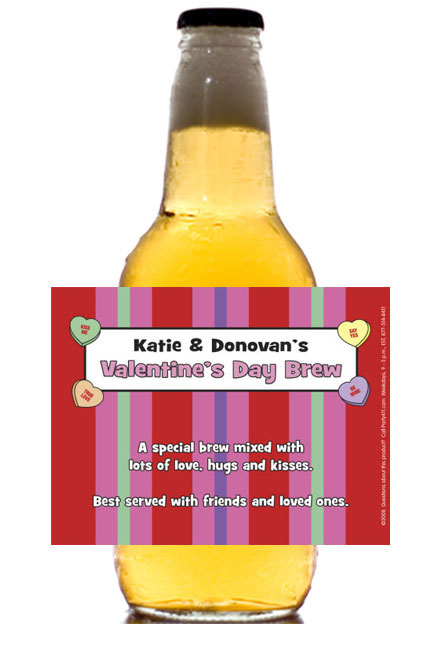 perosnalized valentine's day beer bottle label