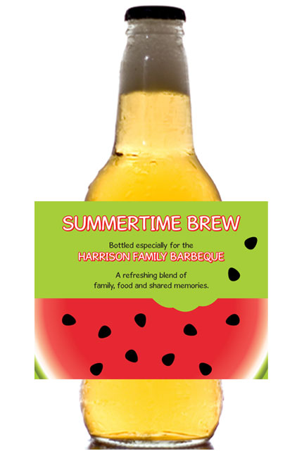 Watermelon Theme Beer Bottle Label