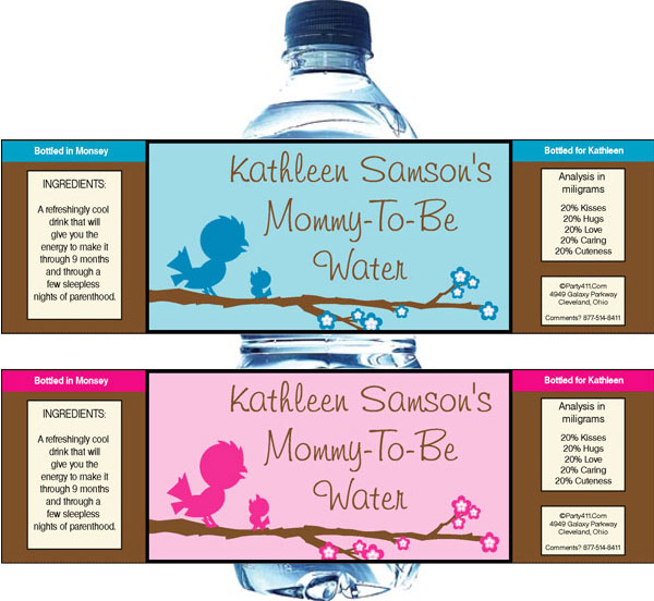 Baby Bird Theme Color Choice Water Bottle Label