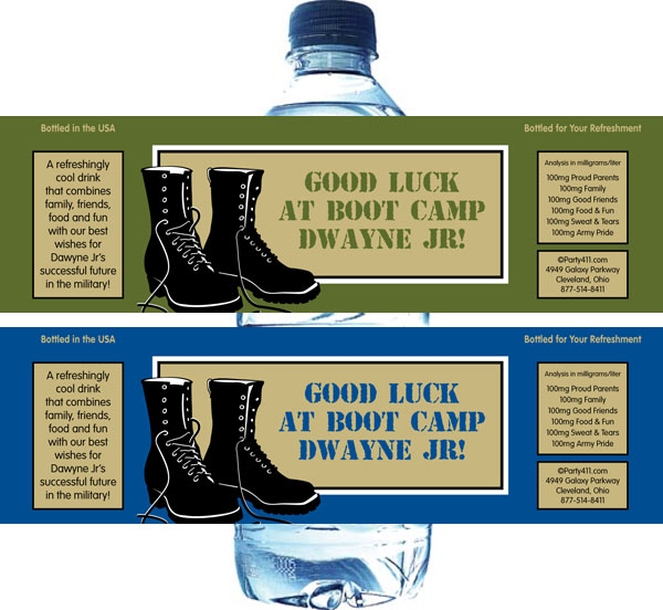 Boot Camp Theme Water Bottle Label