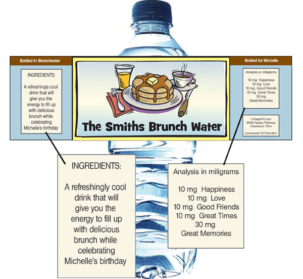 Brunch Theme Bottle Label / Let your guests wash down their pancakes with a personalized water bottle label