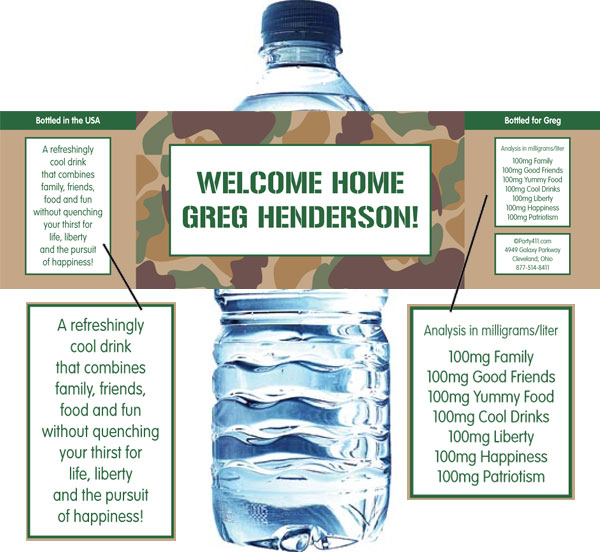Camouflage Theme Water Bottle Label