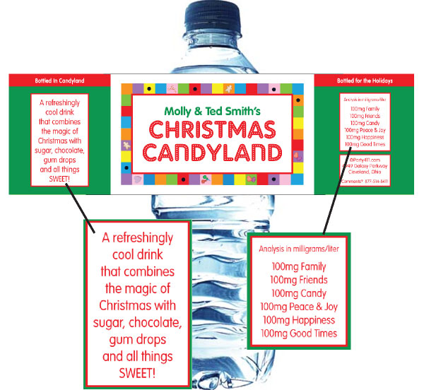 Christmas Candyland Water Bottle Label / This theme bottle label will make a great party favor