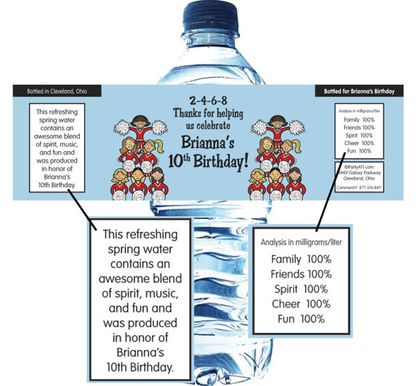 Cheerleading Team Water Bottle Label