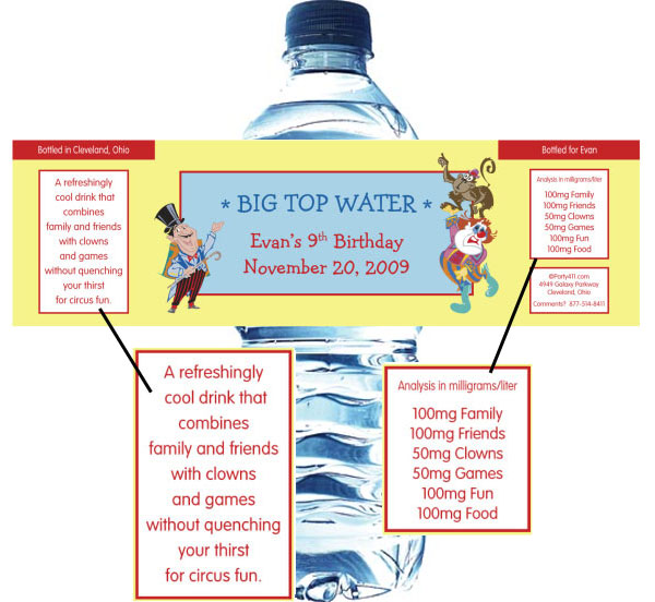 Circus Water Bottle Label / A circus theme water bottle label