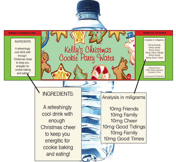 Christmas Cookies Water Bottle Label / Wash down your holiday treats with this theme bottle label
