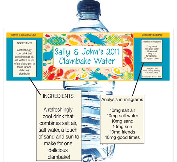 Seafood Water Bottle Label / Give your guests bottled water with personalized themed water bottle labels