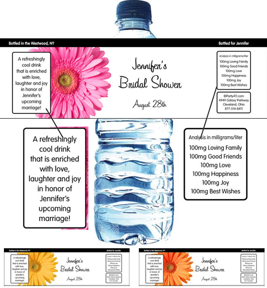 Daisy Theme Water Bottle Label