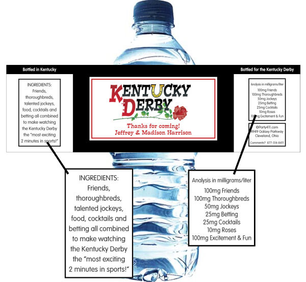 Kentucky Derby Theme Bottle Label, Water / Let your guests enjoy with this great party favor