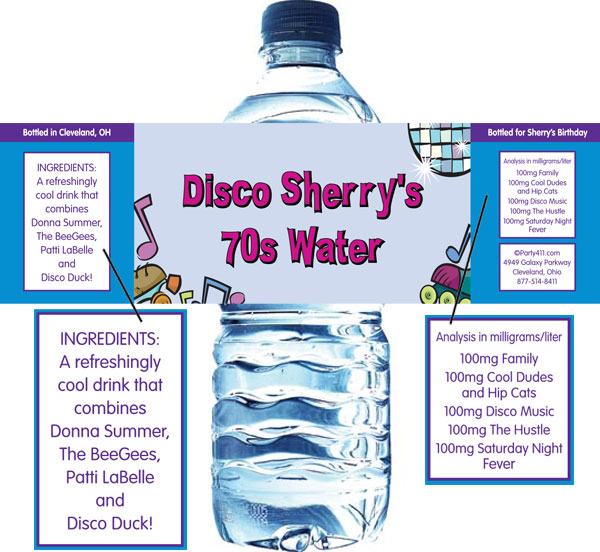 Disco Theme Water Bottle Label / Perfect for after dancing!