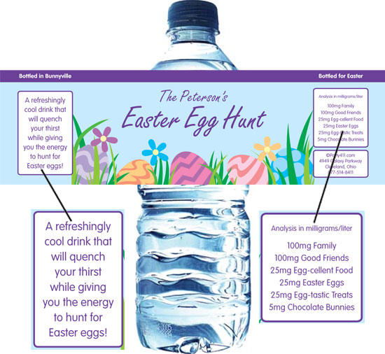 Easter Eggs Spring Theme Water Bottle Label