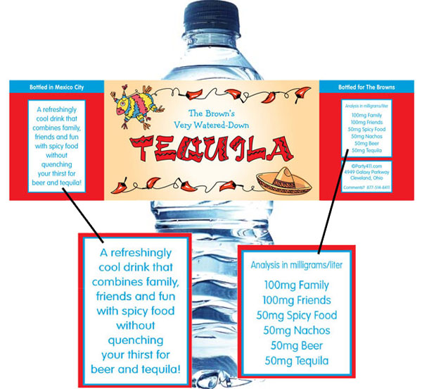 A Fiesta Theme Water Bottle Label / A fun fiesta water bottle label