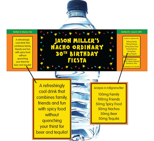 A Fiesta Bash Theme Water Bottle Label