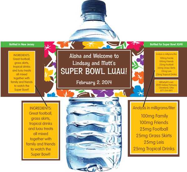 Super Bowl Luau Theme Water Bottle Label / Luau themed water bottle labels are great for your Super bowl party