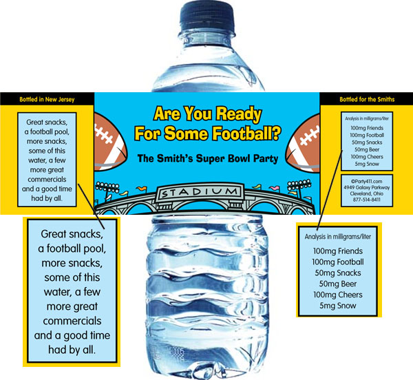Football Stadium Water Bottle Label / This water bottle label is a great addition to your Super Bowl party