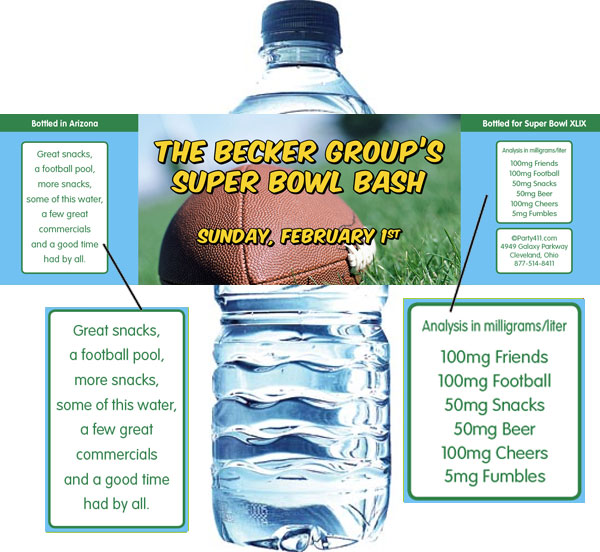 Football Bash Water Bottle Label / This water bottle label will be great for your Super Bowl party