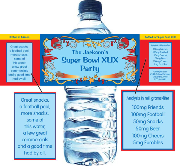 Football Plays Theme Water Bottle Label / Great for your football celebration!