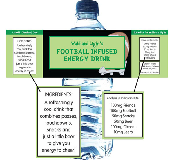 Football Photo Theme Water Bottle Label