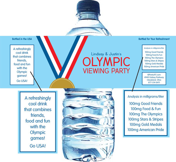 Gold Medal Water Bottle Label / A great Olympic party favor