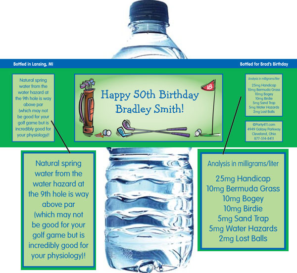 Golf Party Water Bottle Label / Perfect for the golfers!