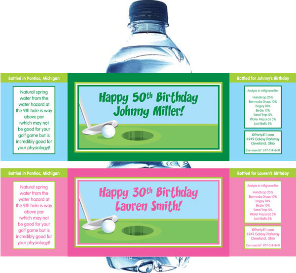 Birthday Golf Water Bottle Label