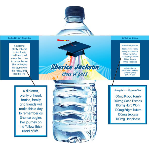 Graduation Land of Oz Water Bottle Label / A fun graduation water bottle